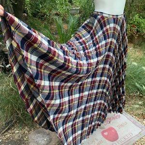 Vtg 70's Beverly Paige Plaid Wool Full Long Skirt